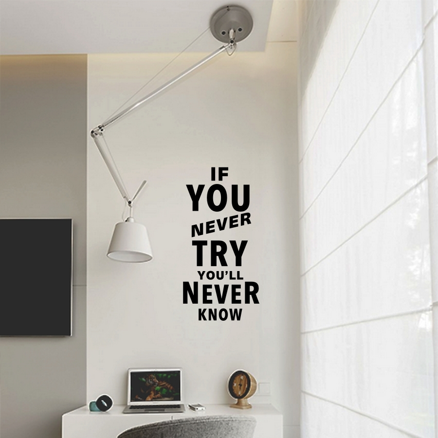 Motivation Quote Wall Sticker If You Never Try Vinyl Lettering Mural Sticker For Kids Room Decor