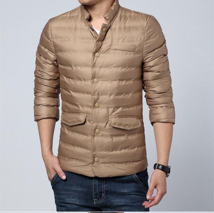 Hommes hiver coton rembourré veste et manteau grande taille col montant veste bouffante hommes Slim noir kaki Parka hommes chaud matelassé manteau
