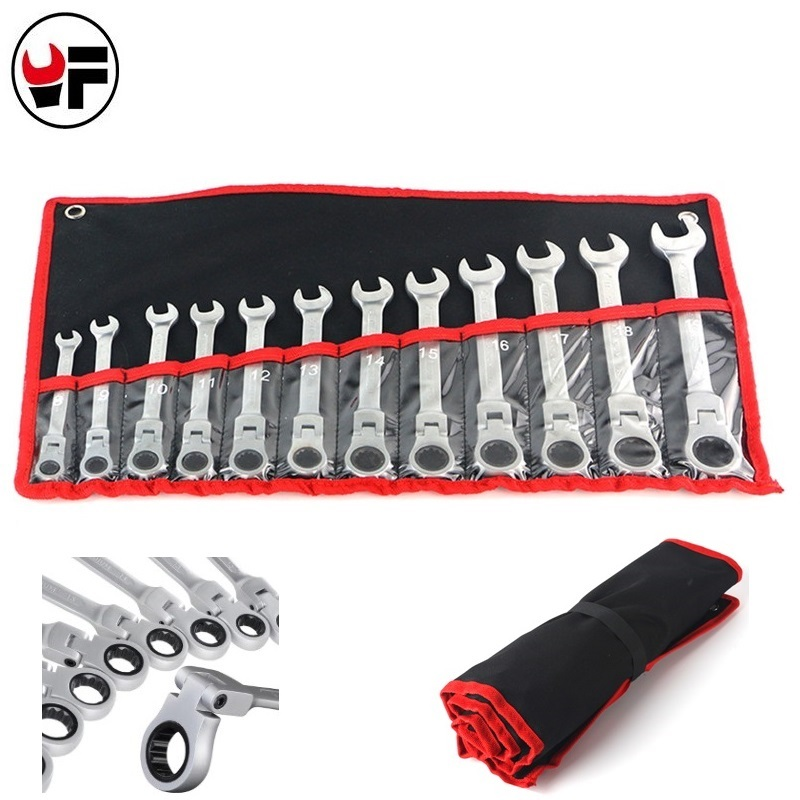 12pcs Ratchet Wrench Set For Car Repair Tools Combination Gear Nut Wrench Box End Spanner Auto