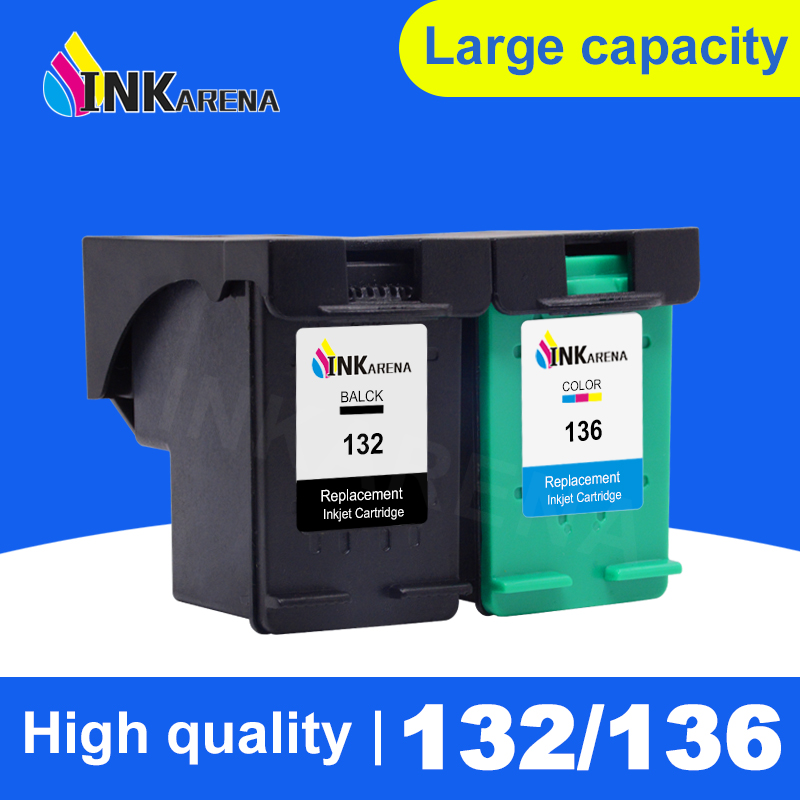 INKARENA Refill <font><b>Ink</b></font> Cartridges Replacement For <font><b>HP</b></font> 132 136 Cartridge Photosmart <font><b>C3100</b></font> C3180 C3183 Officejet 6310 psc 1513 Printer image