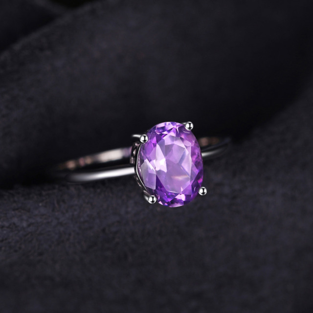 JewelryPalace Genuine Amethyst Ring Solitaire 925 Sterling Silver Rings for Women Engagement Ring Silver 925 Gemstones Jewelry 2