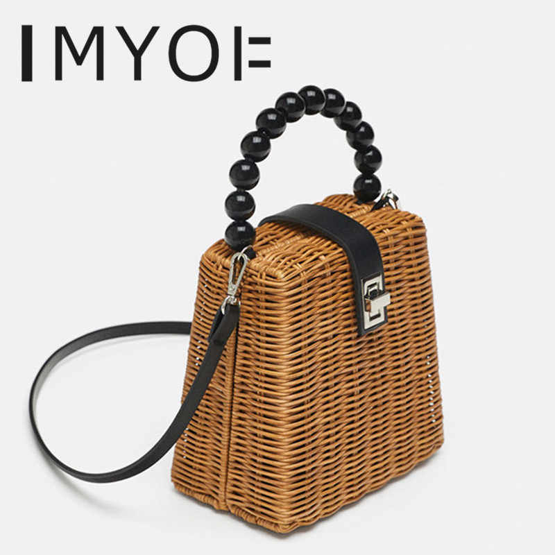 2019 Brand Designer Female Small Tote Bags for Summer Travel Handle Bag Women Bead Hand-woven Straw Bag Ladies Shoulder for Girl