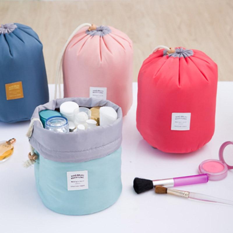 8fc7f00a4f Fashion Barrel Shaped Travel Cosmetic Bag Make up Bag Drawstring Elegant  Drum Wash Kit Bags Makeup Organizer Storage Bag-in Eye Shadow Applicator  from ...