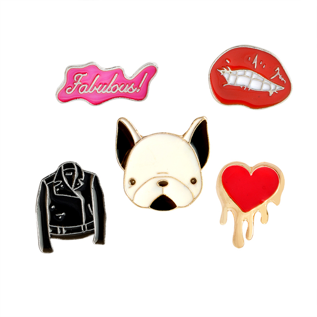 US $0 85 20% OFF|Cartoon Fabulous PU Jacket Red Lip Heart French Bulldog  Brooch Button Pins Brooch Denim Jacket Pin Badge Gift Fashion Jewelry-in