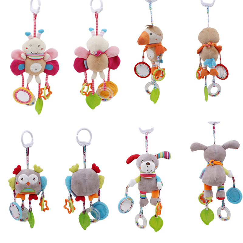 New Born Baby Stroller Hanging Toys Baby Stroller Bell Bed Toys Educational Baby Rattle Soft Plush Doll Toys Gift With Teether