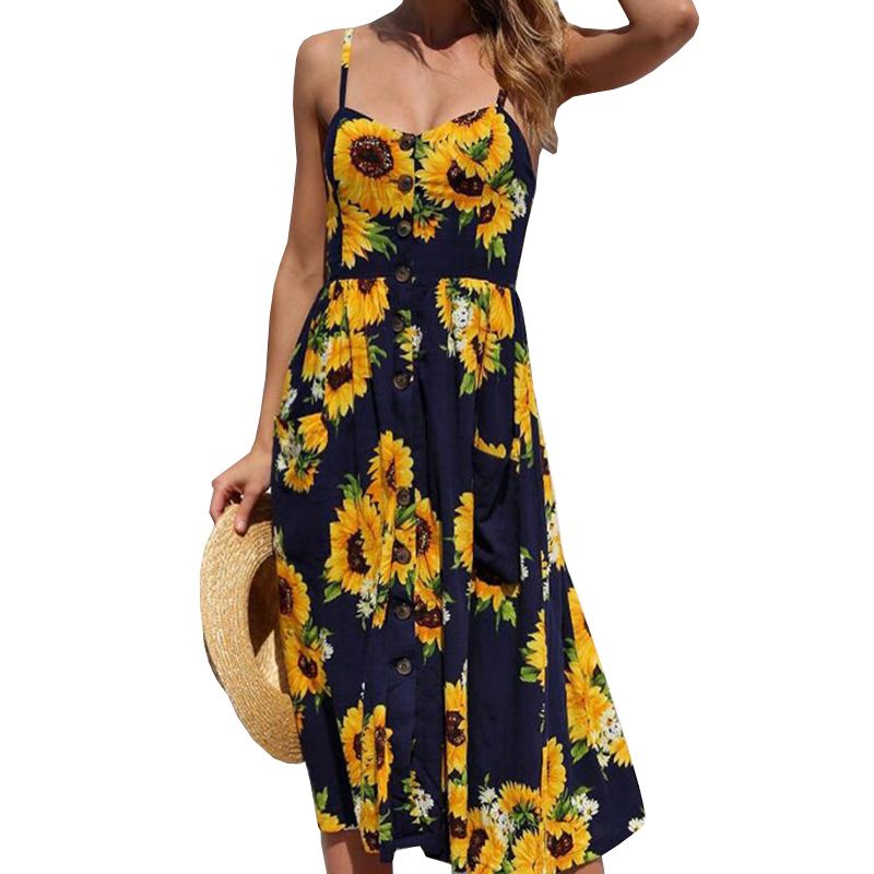 2018 Vintage Printed Dress Summer Beach Dress pineapple pattern women Chiffon dress Sling Sleeveless dress vestidos bodycon