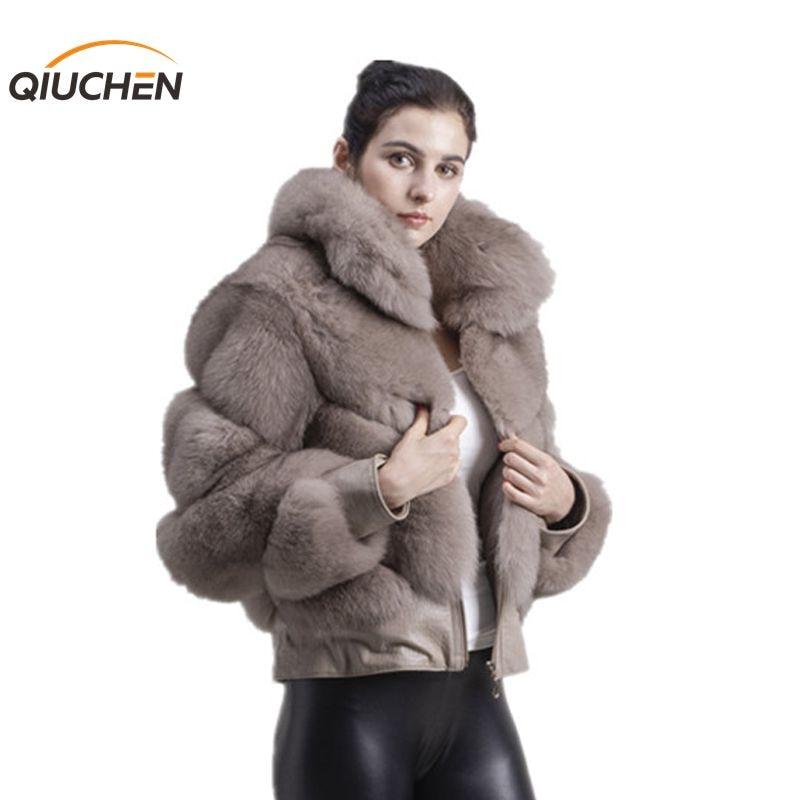 QIUCHEN PJ1815 2019 livraison gratuite nouveauté femmes hiver épais réel fourrure de renard veste grand col avec fermeture éclair en cuir imprimé