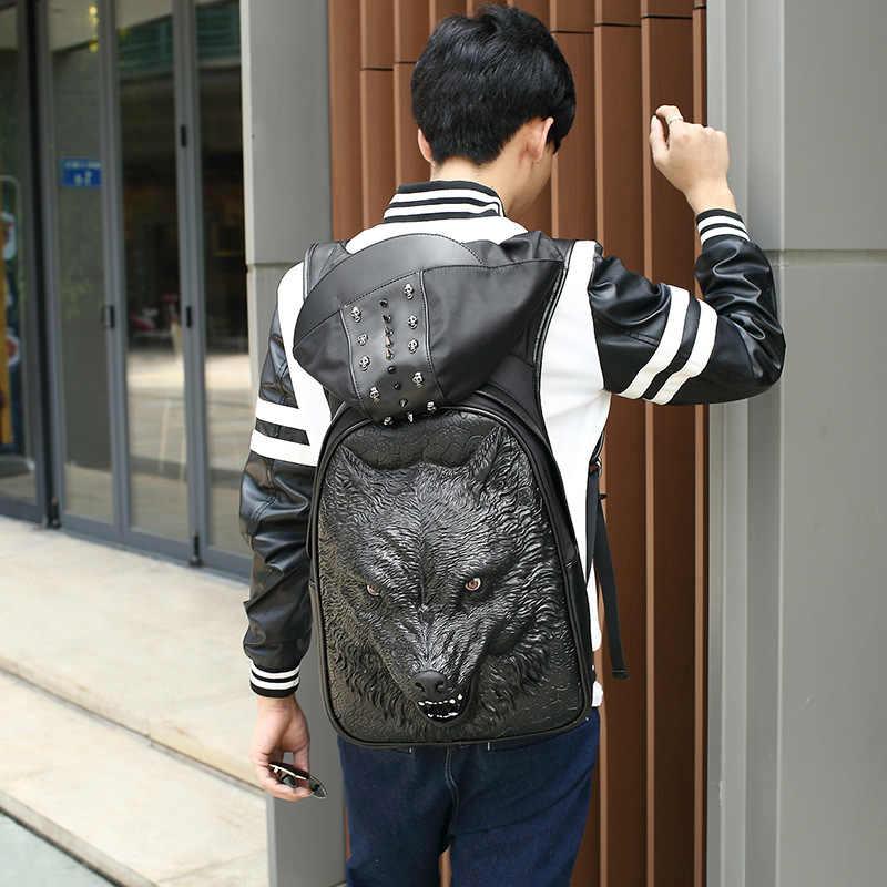 Moda Unisex mężczyźni kobiety czarny/srebrny/złoty plecak 3D głowa wilka drukowanie plecak kobieta mężczyzna wilkołak plecak w promocji