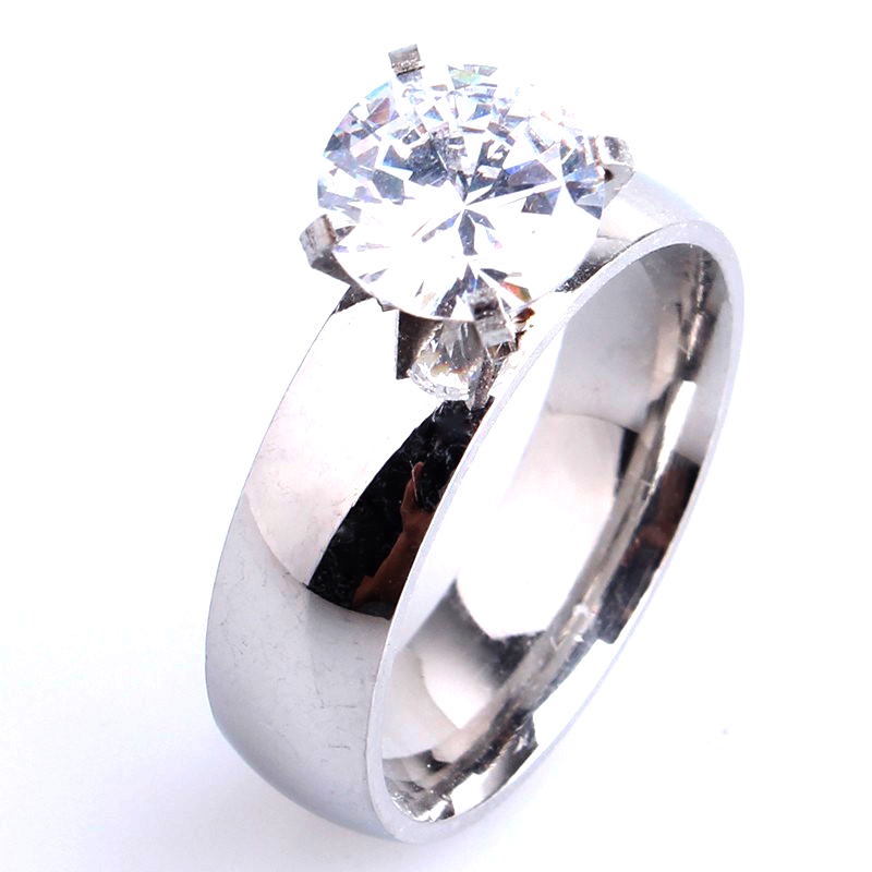 6mm smooth silver zircon 316L Stainless Steel wedding rings for men women wholesale