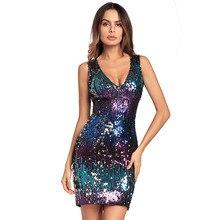 2dc3db9aeb2 Мода v-образным вырезом слинг мешок хип платье секси тонкий блесток платье  гламур вечернее платье
