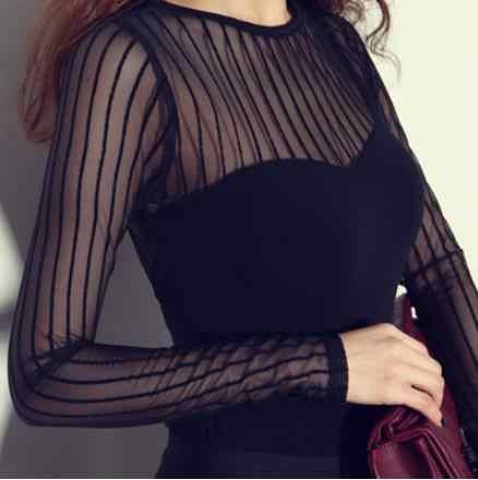 2019 осень лето черная сетчатая полосатая блузка рубашка женская черная с длинным рукавом сетчатый топ Женская сексуальная прозрачная Базовая рубашка KF02