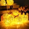 4.7m 35 Rattans Wicker Balls Fairy LED String Lights Waterproof Christmas Party Wedding Led Outdoor Light Decor 220V EU Plug