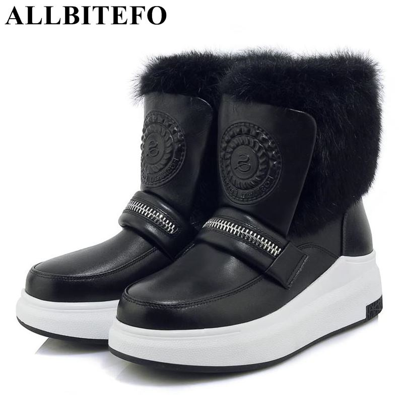 ALLBITEFO genuine leather+Rabbit's hair warm snow winter women boots brand high heels ankle boots women martin boots girls shoes творожок чудо воздушный персик маракуйя 4 2