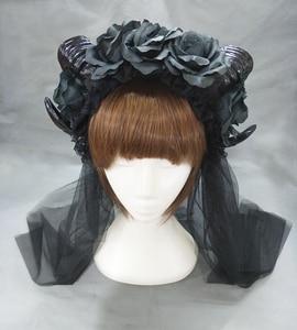 Image 3 - 블랙 마녀 뱀프 고딕 호른 팬 플라워 크라운 머리띠 할로윈 칵테일 파티 헤드 피스 멋진 드레스 액세서리