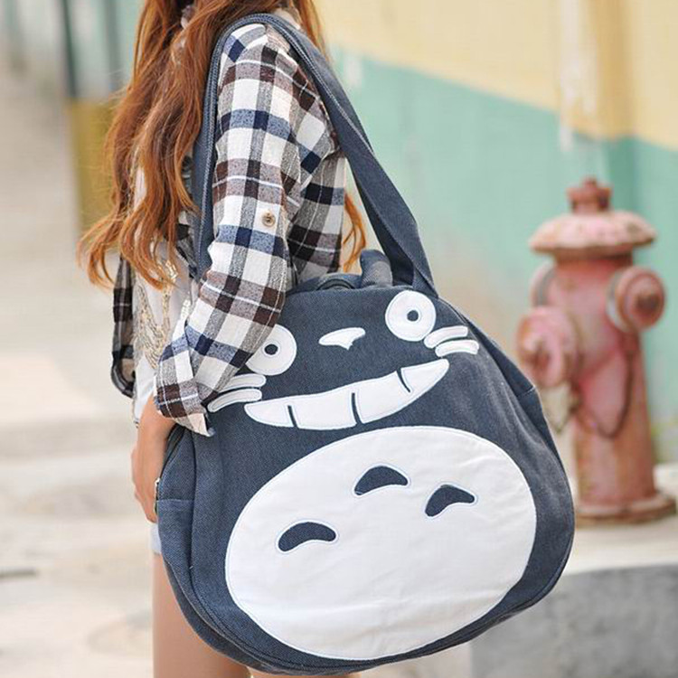2017 Japan Funny Totoro Bag Cute Women's Handbags Large Ladies Canvas Bag Cartoon Shoulder School Bags for Teenage Girls lovely starfish canvas handbag preppy school bag for girls women s handbags cute bags