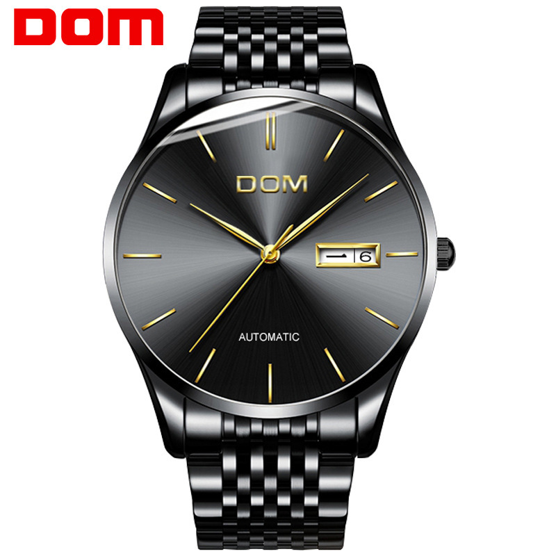DOM luxury brand wristwatches waterproof male clocks business mens watches Mechanical automatic stainless steel man watch цена 2017