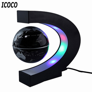 C Shape LED World Map Floating Globe Magnetic Levitation Light Antigravity Magnetive Ball Light Xmas Birthday Home Decoration(China)