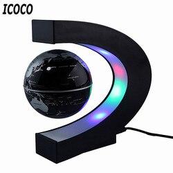 C forma led mapa do mundo flutuante globo levitação magnética luz antigravidade magnetiva bola luz natal aniversário decoração para casa