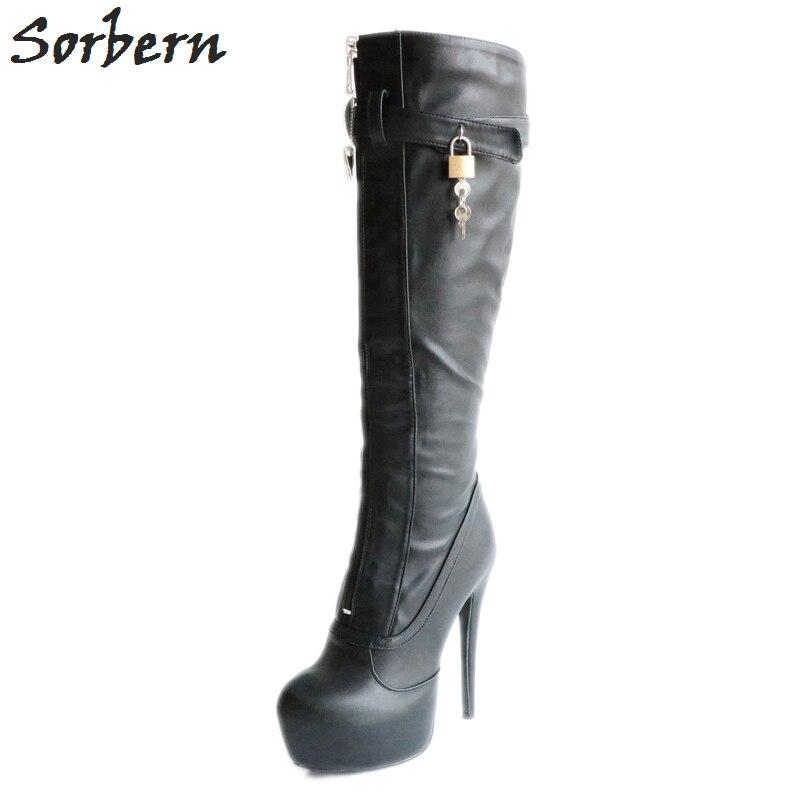 Sorbern BDSM No Zipper Knee High Boots For Women Platform Knee High Boots Women Buckles Strap Shoes Ladies High Heels New