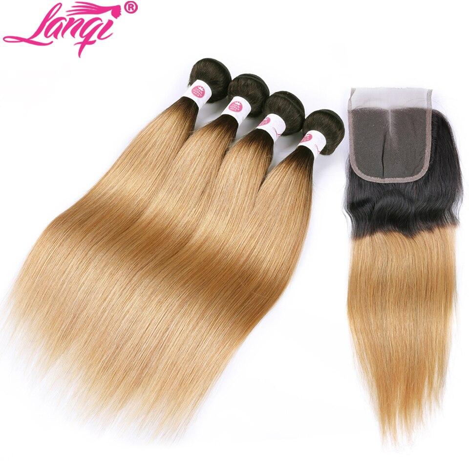 Brazilian straight hair Weave 2 4 bundles blonde bundles with closure 1b 27 honey blonde Human