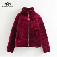 Bella Philosophy 2017 Autumn Winter Parkas Women Coat Casual Warm Velvet Parkas Female Pockets Zipper Outwears