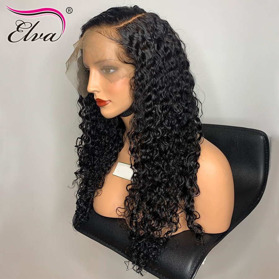 Curly Lace Front Human Hair Wigs With Baby Hair 150% Density Brazilian Lace Front Wig Pre Plucked 13x6 Deep Part Elva Remy Hair