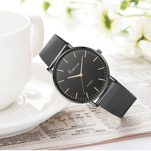 Modern Fashion Black Quartz Watch Men Women Mesh Stainless Steel Watchband High Quality Casual Wristwatch Gift for Female 1