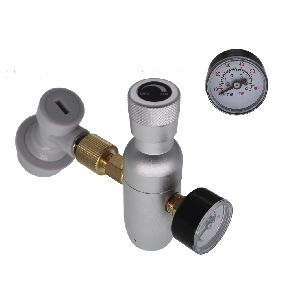 Homebrew Kegging,3/8 Thread Co2 Keg Charger Kit With Ball Lock Fitting,mini CO2 Regulator No Cartridge