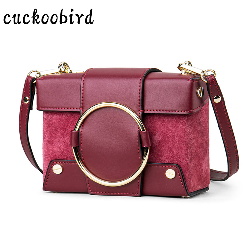 Brand Genuine Leather Women Messenger Bag Patchwork Solid Red Shoulder Bag Women Crossbody Bag Female Daily Clutch stylish women s crossbody bag with solid