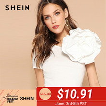 2ff4e0b3c4 SHEIN White Solid Flower Embellished Fitted Top T Shirt Women Summer Slim  Fit Short Sleeve Party