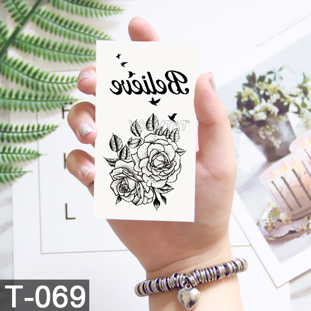 New Waterproof Temporary Tattoo sticker old school rose pattern tattoo Water Transfer tattoo flash tattoo 1
