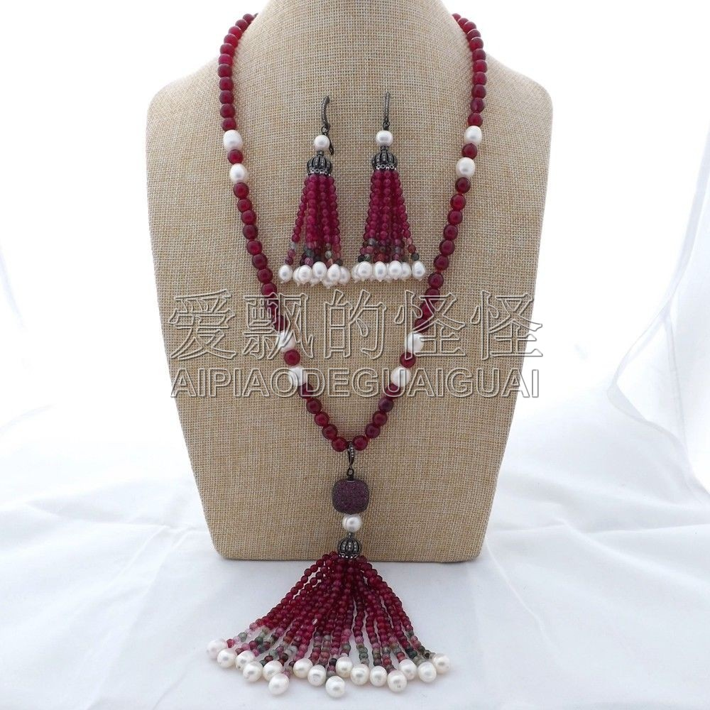 "S121502 26"" Fuchsia White Pearl Necklace Earrings Set"