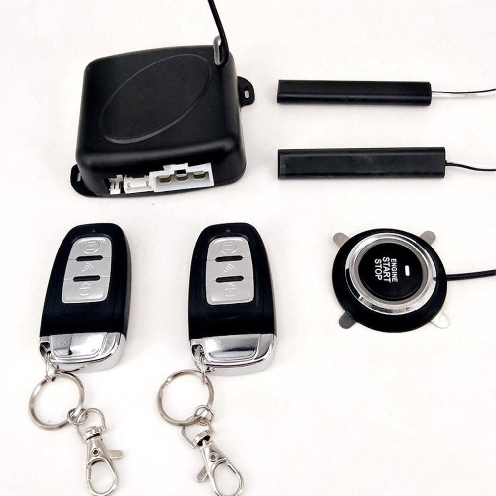 Système d'entrée sans clé passif PKE Kit de démarrage/arrêt de véhicules à bouton-poussoir de démarreur de moteur avec 2 clés intelligentes - 6