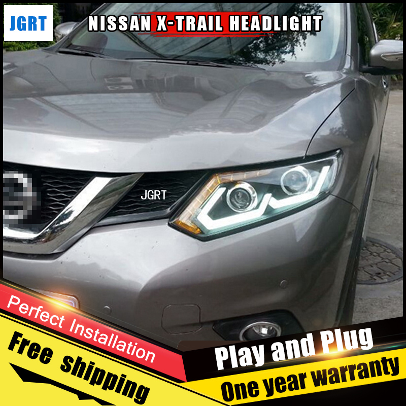 Car Style LED headlights for Nissan X-Trail 2014-2015 for Altima head lamp LED DRL Lens Double Beam H7 HID Xenon bi xenon lens hireno headlamp for 2013 2015 nissan tiida headlight assembly led drl angel lens double beam hid xenon 2pcs