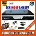Cámara Super 8CH AHD DVR AHD-H HD 1080P Grabador de vídeo H.264 Cámara CCTV Red Onvif de 8 canales IP NVR multilenguaje con la alarma