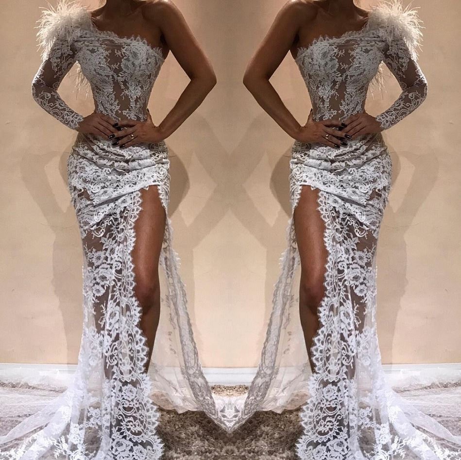 Sexy High Slit Mermaid   Prom     Dresses   Long Elegant Feathers One-Shoulder Lace   Prom   Gown Custom Make Party   Dress   Vestidos De Gala