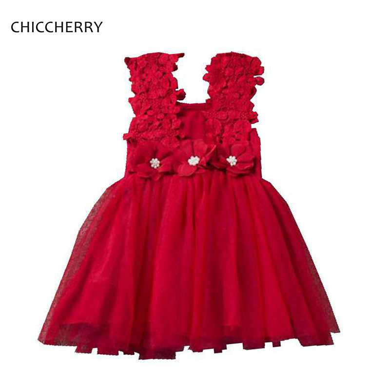 3D Flowers Children Girl Dress Red 2018 New Years Costumes for Kids Vestido De Bebe Beading Birthday Party Lace Dress Clothes 2018 new fashion children flowers dress