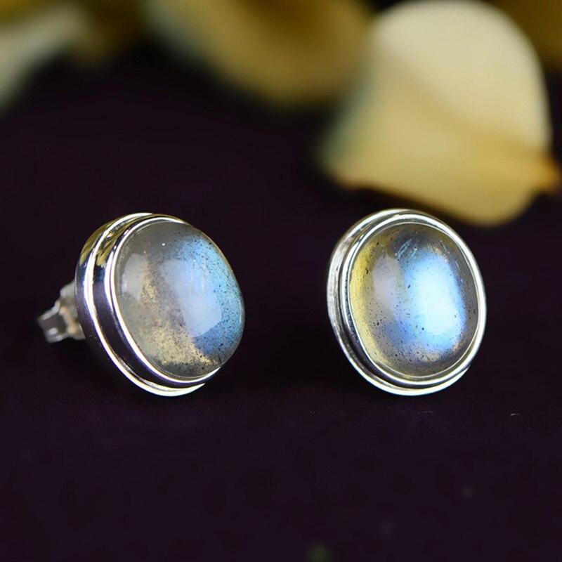 Earrings Silver 925 Natural Gemstone Labradorite Stud Earrings For Women Best Gifts Personalized Jewelry Bijoux