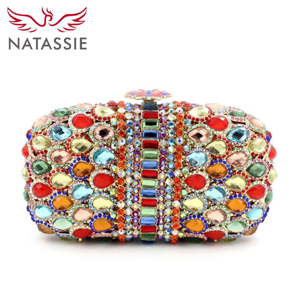 ФОТО NATASSIE Ladies Luxury Crystal Bags Women Wedding Clutch Purses Dinner Party Bags Free Shipping L1064