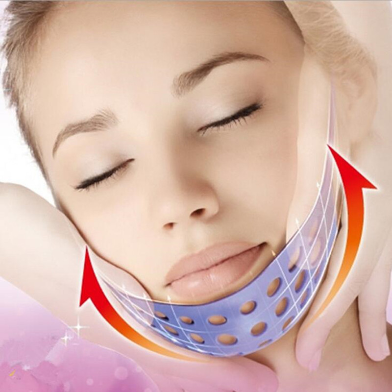 1pcs Elevation Mask Sleeping Slimming Double Chin Face Bandage Silicone Powerful V Face Lift Tools Makeup Thin Belt Strap Band red color silicone face slim lift up belt facial slimming massage band mask personal beauty gift
