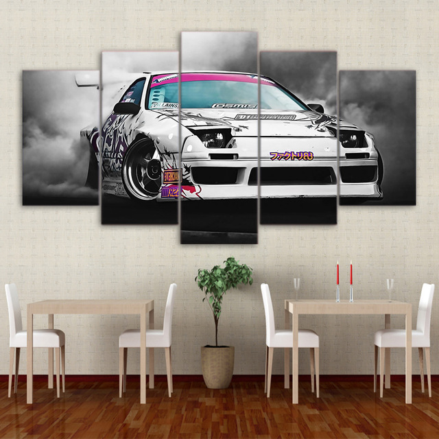 Modern HD Printed Canvas Paintings 5 Pieces Wall Art Modular Pictures Home  Decor Japanese Sports Car