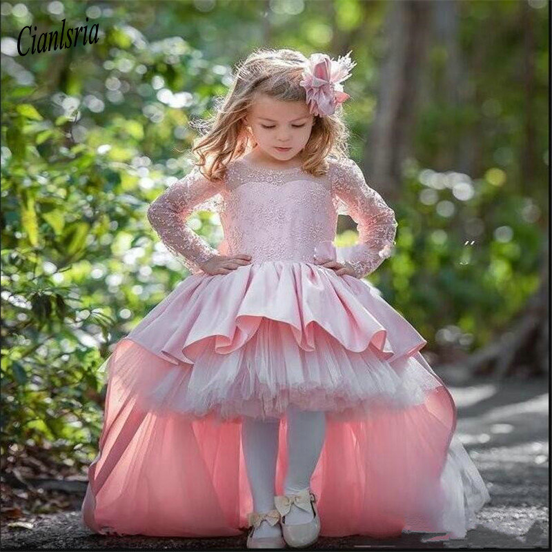 High Low Pink Cute   Flower     Girls     Dresses   For Wedding Long Sleeves Birthday Party Gowns With Big Bow Custom Made   Dress