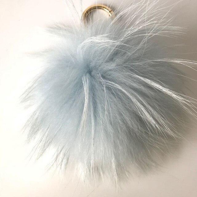 Magicfur-15 cm Verdadeira Bola De Pele De Guaxinim Pom pom Grande Fofo Saco Encantos Charme Céu Azul da Cor do telefone Chaveiro chaveiro Pingente