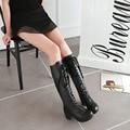 2016 Winter Fashion Lace-up Women Boots Round Toe Platform Shoes Rubber Square Heel  Shoes Big Size 34-43