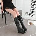 2016 de La Moda de Invierno con cordones de Las Mujeres Botas de Plataforma Punta Redonda Zapatos de Tacón Cuadrado de Goma Zapatos Grandes del Tamaño 34-43