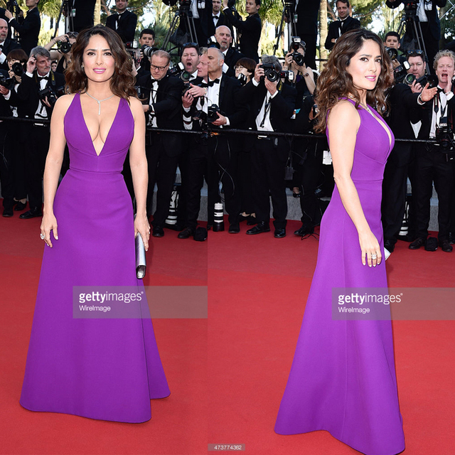2015 Cannes Red Carpet Celebrity Dresses Salma Hayek Imitation Long Grape  Ruched Trumpet Sexy V-Neck Famous Party Prom Gowns 892856ef0054