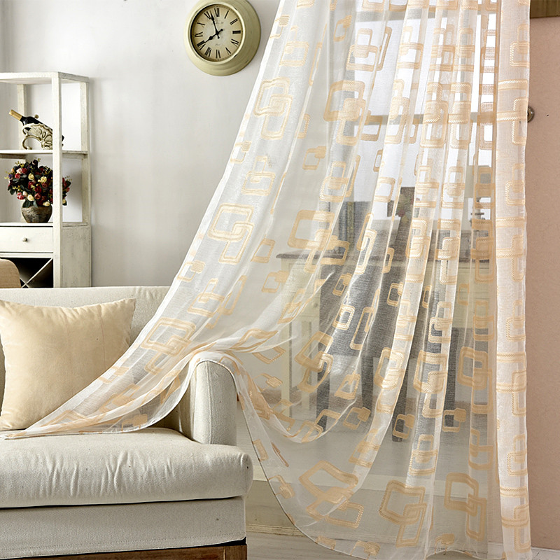 Gold And Grey Sheer Window Curtains For Living Room Luxury Organza Geometric Curtains For