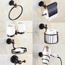 7 моделей латунный материал черный цвет аксессуары для ванной комнаты
