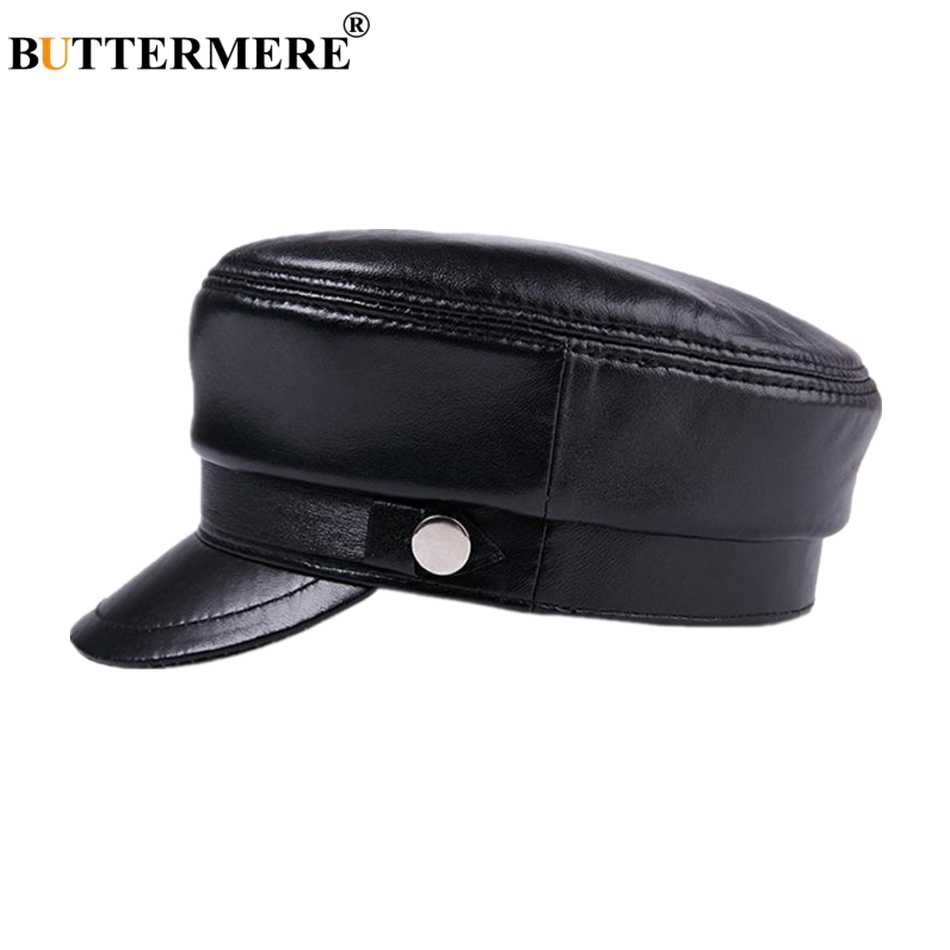 BUTTERMERE mujeres piel de oveja sombrero de los hombres de cuero genuino negro  sombrero militar marinero ac314a2008b