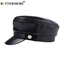 BUTTERMERE Women Sheepskin Hat Men Genuine Leather Black Military Sailor Army Cap Baker Boy Spring Autumn Winter Flat